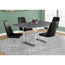 "DINING TABLE - 36""X 60"" / GREY / CHROME METAL"