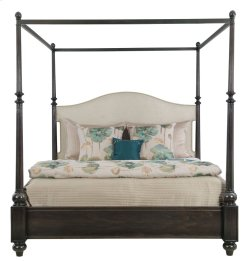 Queen-Sized Sutton House Upholstered Canopy Bed in Sutton House Dark Mink (367)