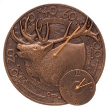 "Elk 14"" Indoor Outdoor Wall Clock & Thermometer - Antique Copper"