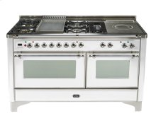 True White with Chrome trim - Majestic 60-inch Range with French Cooktop