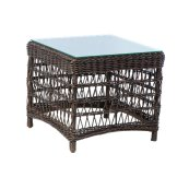 """Newport 23"""" Square Side Table w/ Glass Top"""