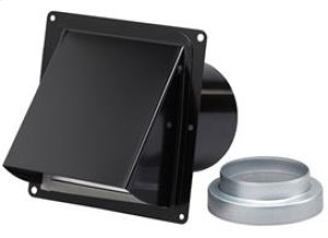 "Black Steel Wall Cap for 3"" and 4"" round duct (no bird screen)"