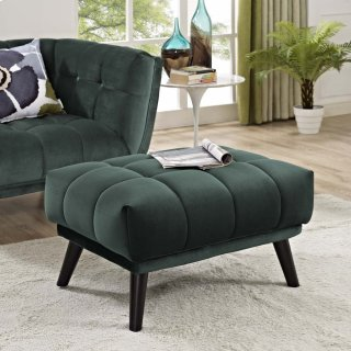 Bestow Performance Velvet Ottoman in Green