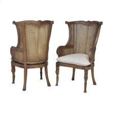 Caned Wing Back Chair In New Signature Stain - Set of 2