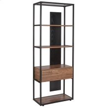 """Tiverton Collection Industrial Style 4 Shelf 59""""H Bookcase with Open and Panel Backing in Dark Ash"""