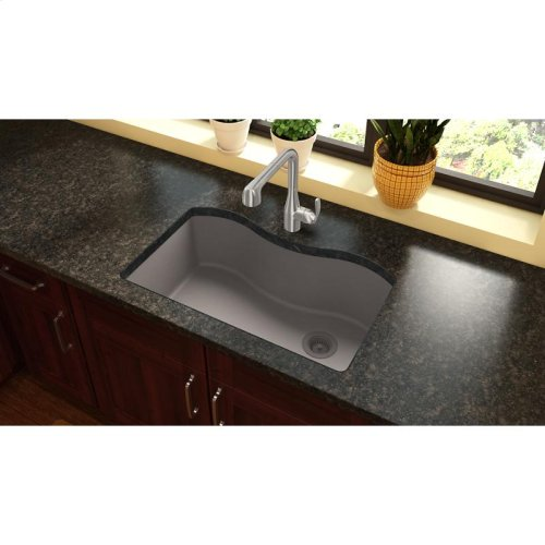 "Elkay Quartz Classic 33"" x 20"" x 9-1/2"", Single Bowl Undermount Sink, Greige"