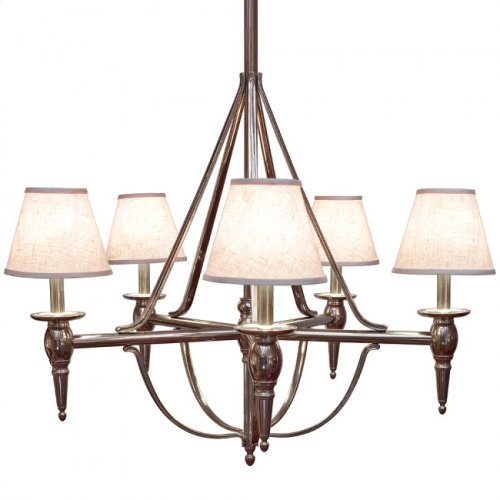 Five-Arm Towne Chandelier - C500 White Bronze Brushed with White