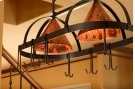 Dutch Oval Iron Lighted Pot Rack with Copper Shade Product Image