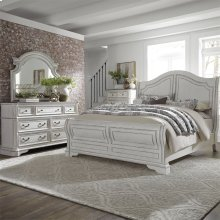 Queen Sleigh Bed, Dresser & Mirror, Chest