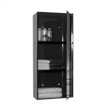 Aeri vertical glass wall mount storage unit with three shelves and mirror door.