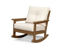 Teak & Antique Beige Vineyard Deep Seating Rocking Chair