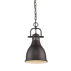 Duncan Small Pendant with Chain in Rubbed Bronze with a Rubbed Bronze Shade