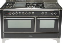 Matte Graphite with Chrome trim - Majestic 60-inch Range with French Cooktop