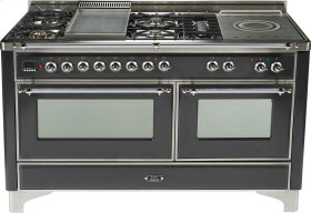 Matte Graphite with Chrome trim - Majestic 60-inch Range with Griddle + French Cooktop