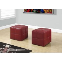 OTTOMAN - 2PCS SET / JUVENILE / RED LEATHER-LOOK