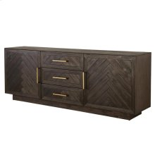 Wellington Herringbone Sideboard 3 Drawers + 2 Doors, Thames Dark Brown *NEW*