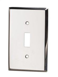 Single Toggle Square Bevel Switch Plate - Polished Nickel