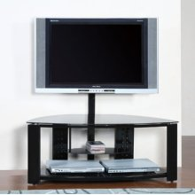 2-Shelf Corner Flat Panel TV Stand with Post & Bracket