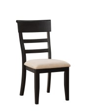 Side Chair Ladderback Rta Black W/uph Seat Product Image