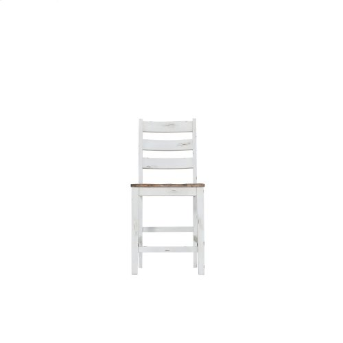 Emerald Home Abaco Ladderback Barstool-country White W/brown Wood Seat