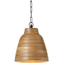 Natural Wood Pendant. 40W Max. Plug-in with Hard Wire Kit Included.