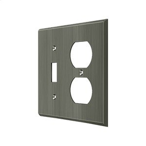 Switch Plate, Single Switch/Double Outlet - Antique Nickel