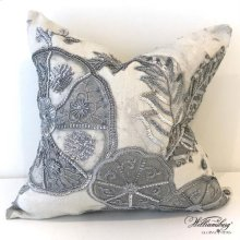 Pomegranate and Hibiscus Pillow-Silver