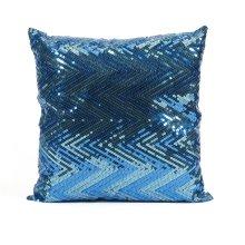 Estradin Blue Sequin Chevron Pillow