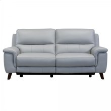 Lizette Contemporary Top Grain Leather Dove Grey Power Recliner Sofa with USB