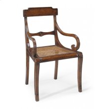 Regency walnut scroll armed chair with caned seat