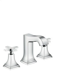 Chrome Widespread Faucet 110 with Cross Handles and Pop-Up Drain, 1.2 GPM