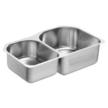 1800 Series 34-1/4 x 20 stainless steel 18 gauge double bowl sink
