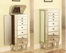 """Mirrored Jewelry Armoire with """"Silver"""" Wood"""