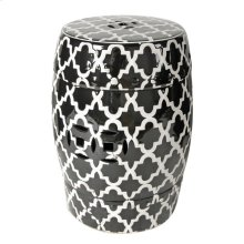 Patterned Stool,Black/White