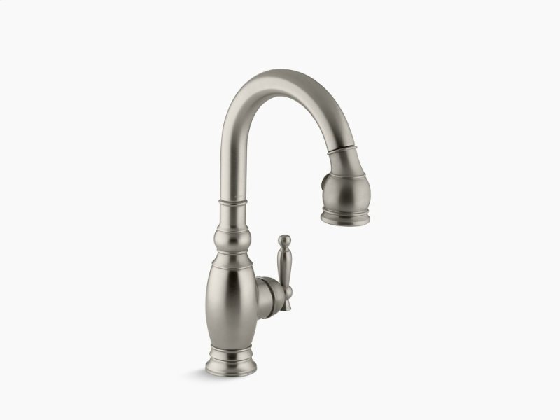 K691bn In Vibrant Brushed Nickel By Kohler Denver Co Single Hole Or Three Kitchen Sink Faucet With Pull Down 15 1 8 Spout