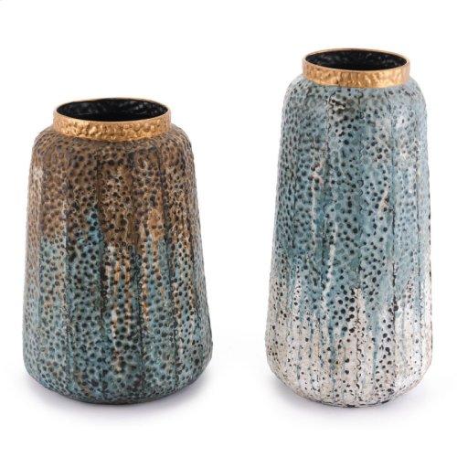 Set Of 2 Antique Vases Multicolor