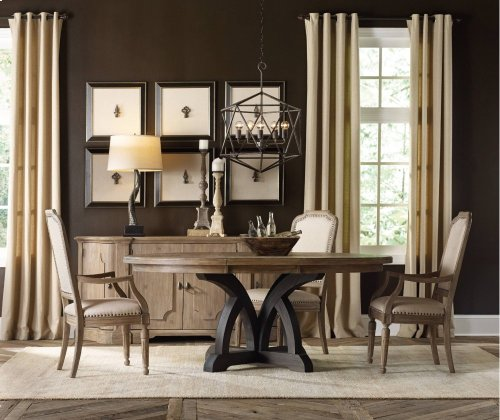 Corsica Dark Round Dining Table (Dark Base/Light Top)