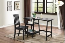 Writing Desk and Chair, Black Table: 47.25 x 23.5 x 29.75H Chair: 17.25 x 18 x 37H