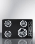 "30"" Wide 220v Electric Cooktop In Black Porcelain Finish Product Image"