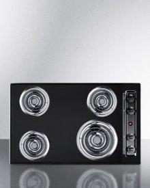 """30"""" Wide 220v Electric Cooktop In Black Porcelain Finish"""
