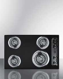"30"" Wide 220v Electric Cooktop In Black Porcelain Finish"
