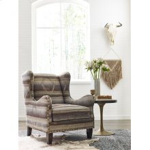 Sculpted Arm Wing Chair with Nail Head Trim