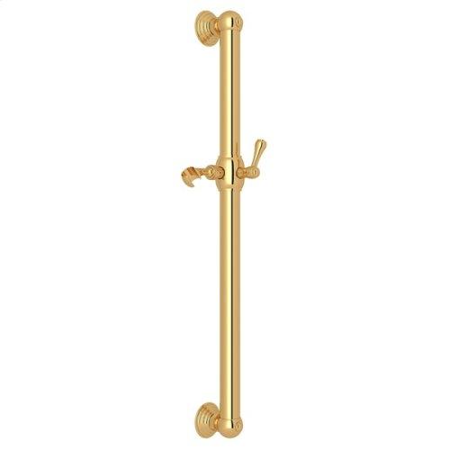 "Italian Brass 24"" Decorative Grab Bar With Lever Handle Slider"