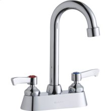 """Elkay 4"""" Centerset with Exposed Deck Faucet with 4"""" Gooseneck Spout 2"""" Lever Handles Chrome"""