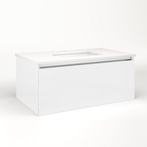 """Cartesian 36-1/8"""" X 15"""" X 21-3/4"""" Single Drawer Vanity In White With Slow-close Plumbing Drawer and Night Light In 5000k Temperature (cool Light)"""