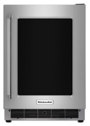 """24"""" Undercounter Refrigerator with Glass Door and Metal Trim Shelves - Stainless Steel Product Image"""