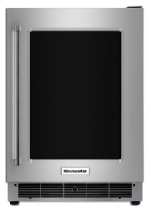 """24"""" Undercounter Refrigerator with Glass Door and Metal Trim Shelves - Stainless Steel SPECIAL OPEN BOX/RETURN CLEARANCE SN#02519"""