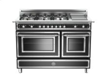 48 6-Burner + Griddle, Gas Double Oven Matt Black