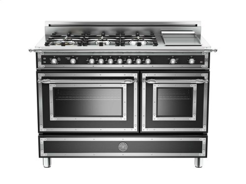 48 inch 6-Burner + Griddle, Gas Double Oven Matt Black