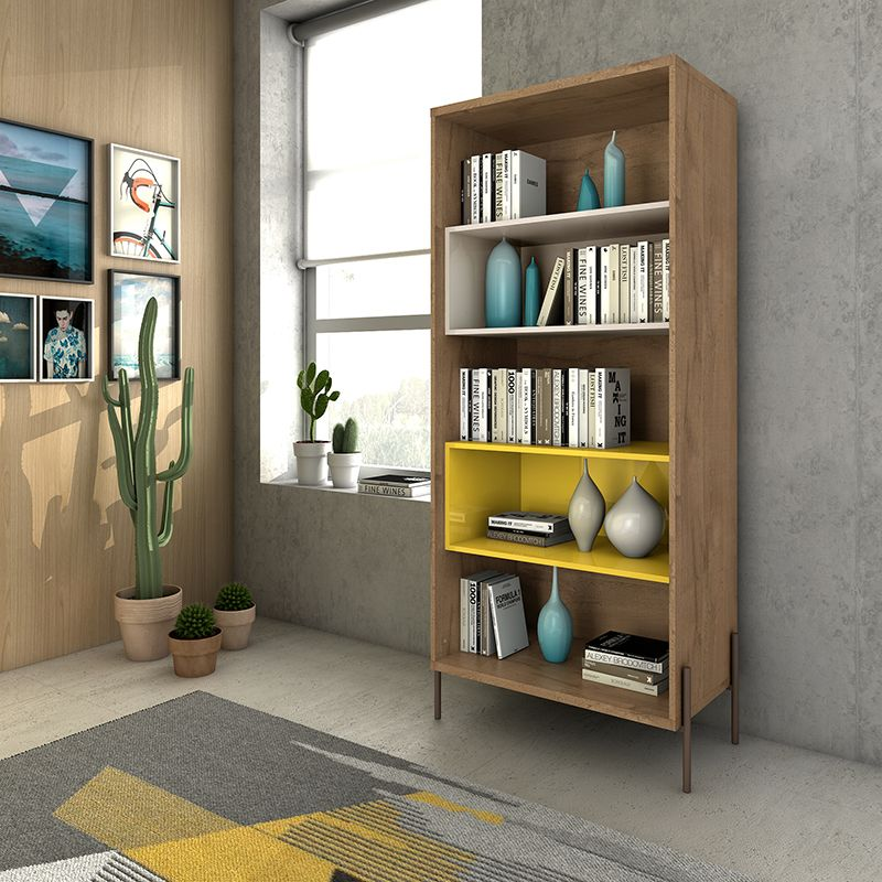Joy 5- Shelf Bookcase in Yellow and Off White